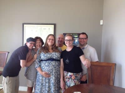 Photo of me, my family and my daughter's birth parents.